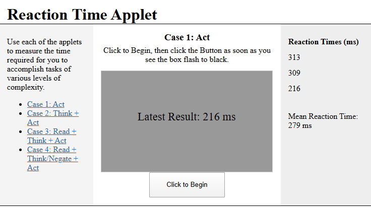 Reaction Time Applet (HBS 2.2.4)